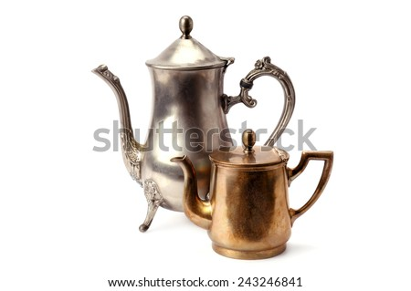 old coffee pots isolated on white background