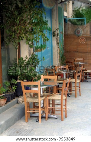 Old coffee shop in Nicosia - capital of Cyprus - stock photo