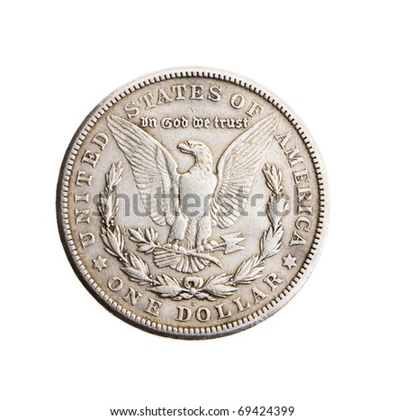 Old coin in one silver dollar (on a white background) - stock photo