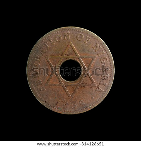 Old coin Nigeria - stock photo