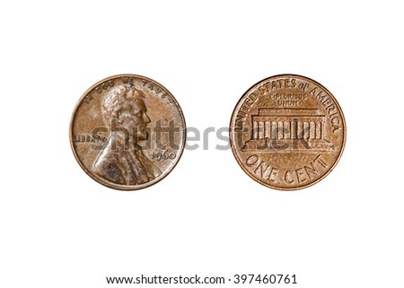 old coin of a penny with Lincoln's face isolated on white background - stock photo