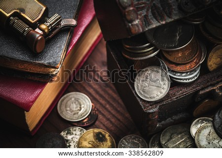 old coins and old object - stock photo