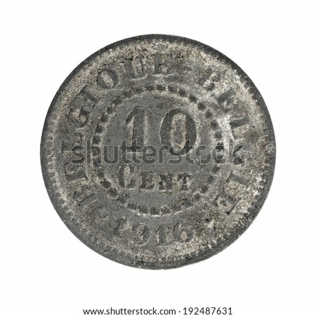Old coins Belgium 10 cents - stock photo