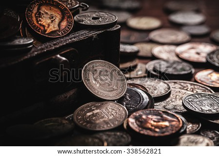 old coins in chest - stock photo