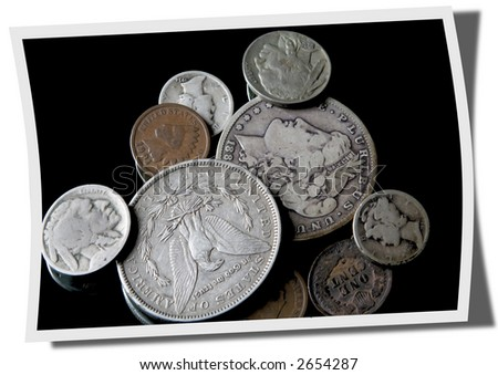 Old coins in photograph