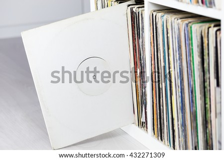 Old collection of vinyl discs. closeup - stock photo
