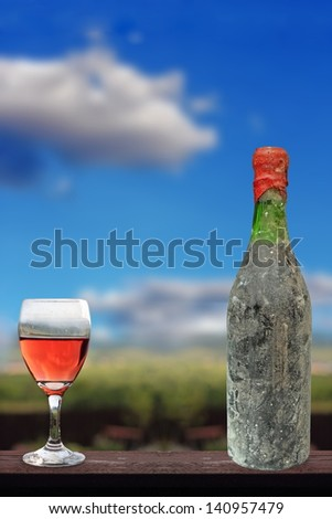 old collection red wine in bottle from the winery cellar - stock photo