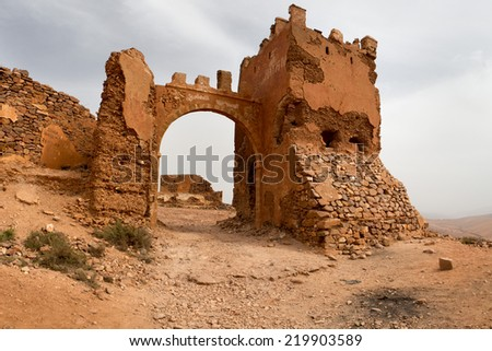 Old colonial fort in Mirleft, a small town and rural commune in Tiznit Province of the Souss-Massa-Draa region of Morocco. - stock photo