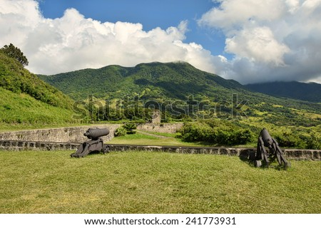 Old colonial fortress Brimstone Hill in St Kitts, the Caribbean - stock photo