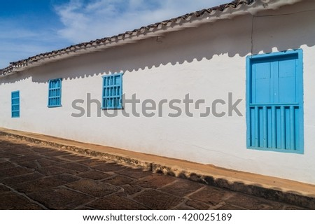 Old colonial house in Barichara village, Colombia - stock photo