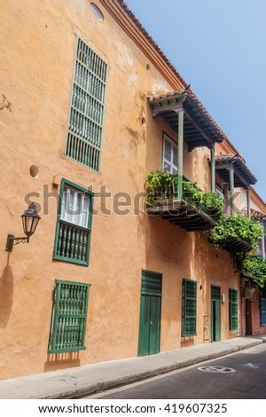 Old colonial houses in center of Cartagena, Colombia. - stock photo