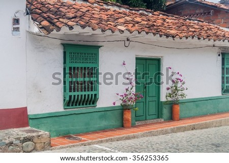 Old colonial houses in Santa Fe de Antioquia, Colombia. - stock photo