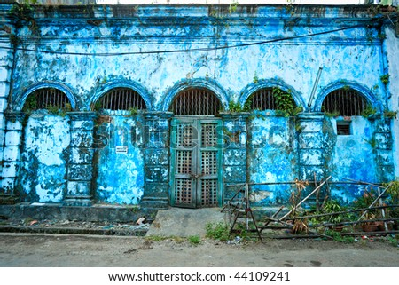 Old colonial palace in Yangon, Myanmar. - stock photo