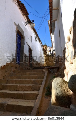 Old Colonial street in Cuzco with Stairs going up