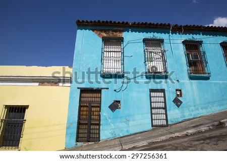 Old colonial town. Venezuela, Ciudad Bolivar is one of the prettiest colonial cities in Venezuela. - stock photo