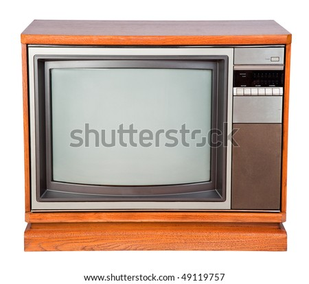 Old Color Console Television Isolated on a White Background - stock photo