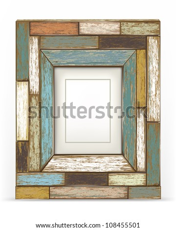 Old color wooden frame (jpg). vector version also available - stock photo