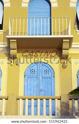Old colorful Casino facade Opatija Croatia - stock photo