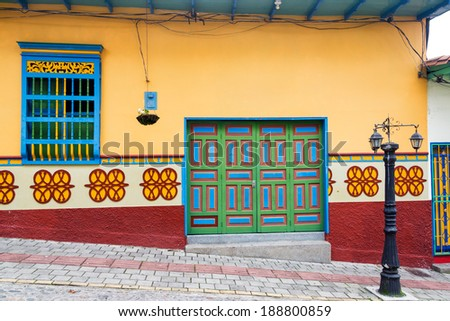 Old colorful house in Guatape, Colombia - stock photo