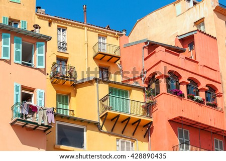 Old colorful houses in Menton - small town on French Riviera. - stock photo