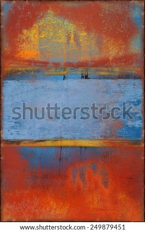 Old Colorful Texture with Rusty Seams Along Edges (Part of Colorful Metal Textures set, which includes 12 textures that fit together perfectly to form a huge image) - stock photo