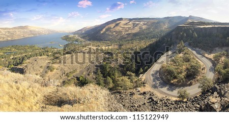 Old Columbia Highway and Columbia River Gorge at Rowena Crest Oregon Panorama - stock photo