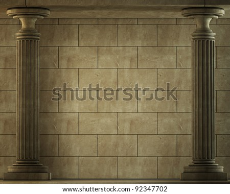 Old columns is ancient style. Realistic 3D illustration - stock photo