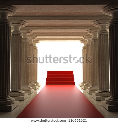 Old columns is ancient style with Red carpet Realistic High resolution 3D illustration - stock photo