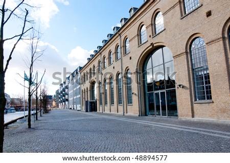 Old commercial buildings in Copenhagen, Denmark - stock photo