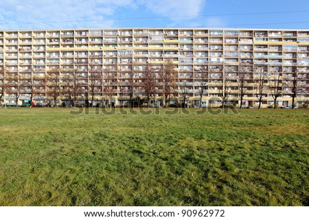 Old communist tower block in Prague, Czech republic - stock photo
