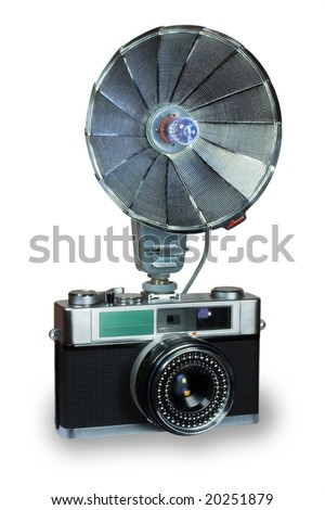 Old compact camera with flash - stock photo