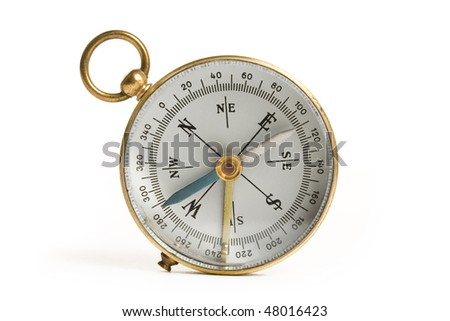 Old Compass close up shot - stock photo