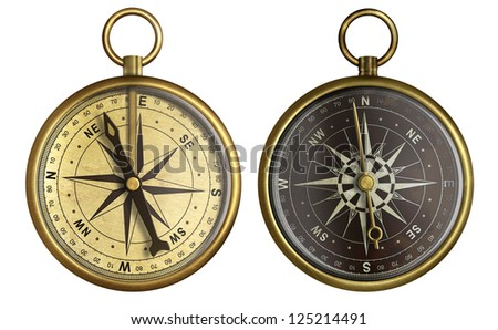 Old compass collection. Two aged brass antique nautical pocket compass isolated on white. - stock photo