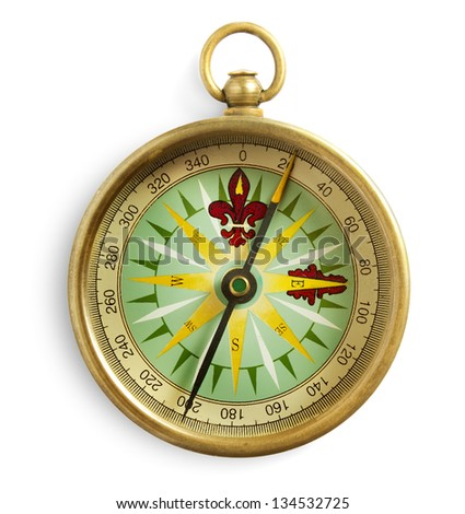 Old compass isolated on white - stock photo