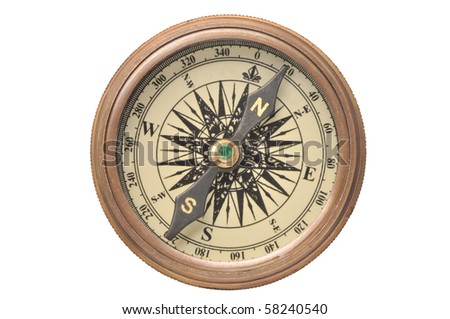 Old compass on a white background