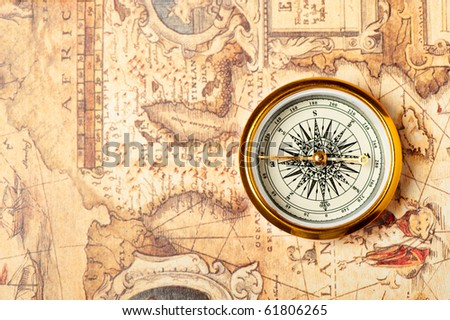 Old Compass On Ancient Map Compass Stock Photo Shutterstock - Antiques us maps with compass
