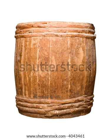 old completely wooden barrel isolated on white
