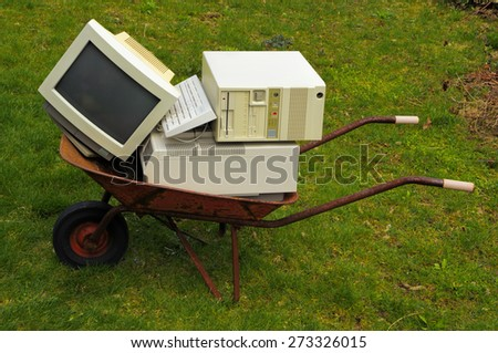 Old computer and printer - stock photo
