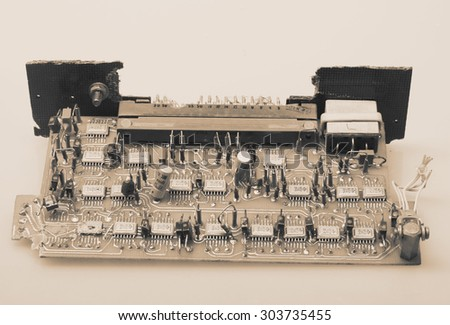 Old computer board and conductors.