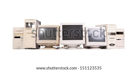 old computer in horizontal composition - stock photo