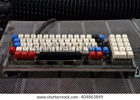 old computer keyboard as part of computer history - stock photo