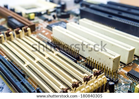 Old Computer mother board - stock photo
