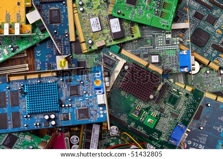 Old computer parts ready for recycling - stock photo