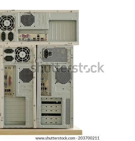 old computers and keyboard for electronic recycling isolated on white
