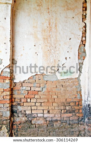 Old concrete and brick wall, background