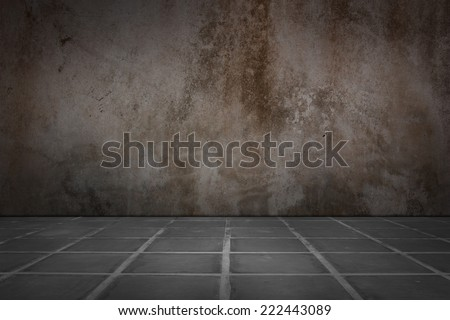 Old concrete wall and floor tiles. - stock photo