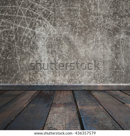 Old Concrete walls and wood floor for text and background.Copy Space