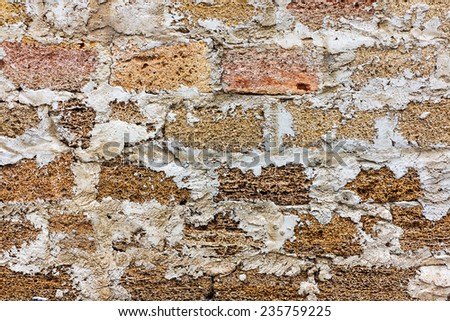 Old concrete, weathered, worn walls lined with natural stone. Grungy Concrete Surface. Great background or texture. - stock photo