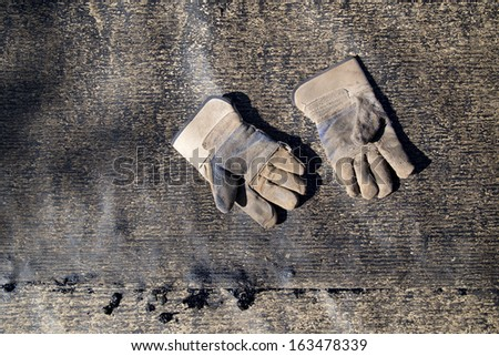 old construction gloves - stock photo