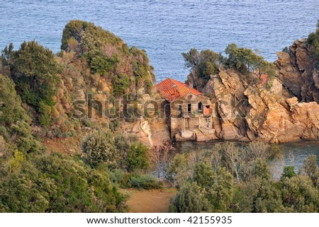 old construction on Mount Athos, Greece - stock photo